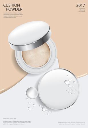 Makeup Powder Cushion Poster Template Vector Illustration