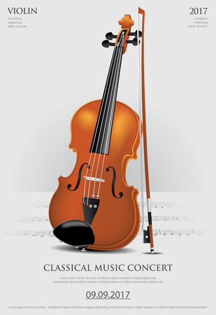 クラシック音楽コンセプトヴァイオリンベクターイラスト