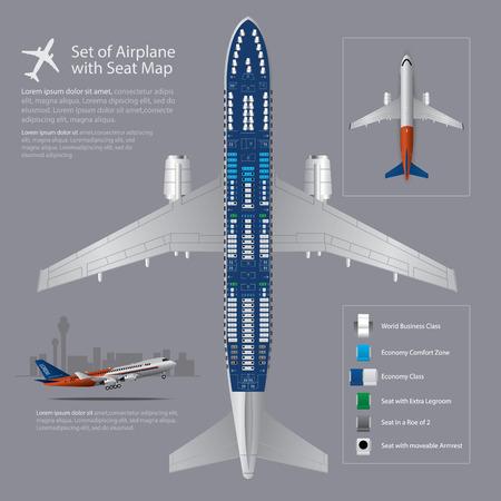 Set Vliegtuig Met Zetelkaart Geïsoleerde Vector Illustratie Stockfoto - 89702413