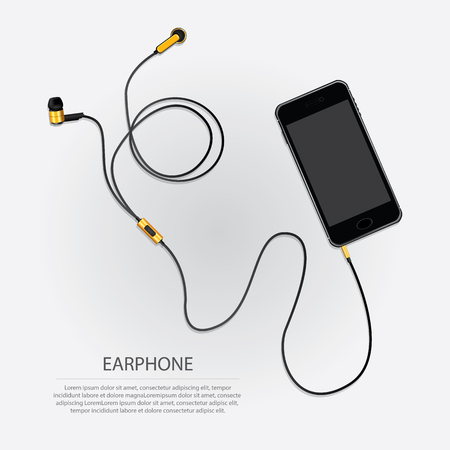 Mobile phone with attached audio cable and earphones