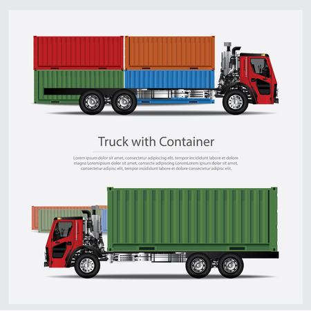 Cargo Trucks with Container. isolated Vector Illustration
