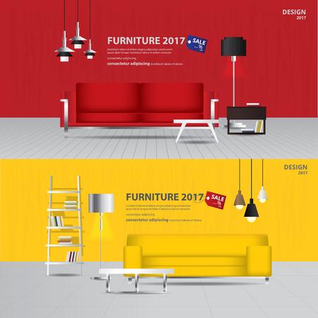 Banner Furniture Sale Design Template Vector Illustration Illusztráció