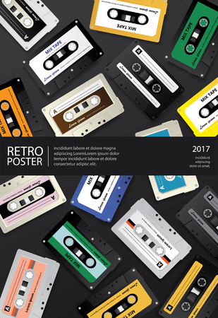 Vintage Retro Cassette Tape Poster Design Template Vector Illustration Иллюстрация