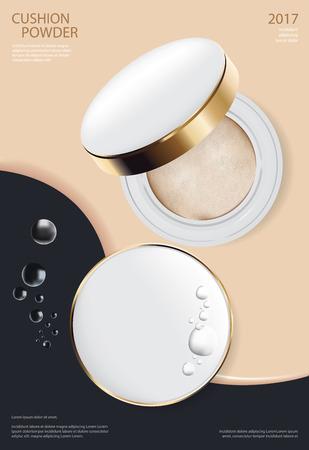 Make-up Pulver Kissen Poster Vorlage Vektor-Illustration
