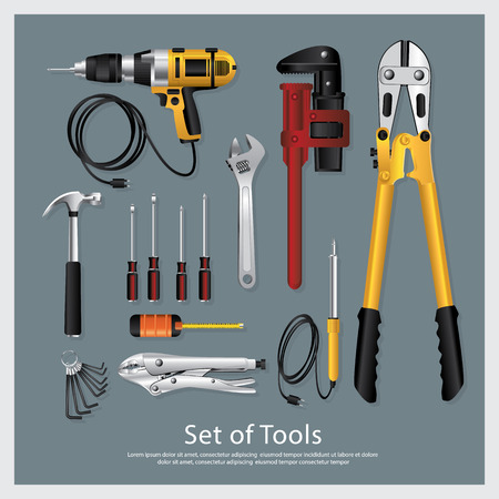 Set of Tools Collection Vector Illustration Vettoriali