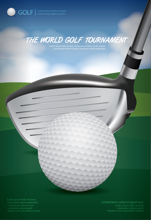 Poster Golf Championship Vector Illustration with golf ball and golf iron