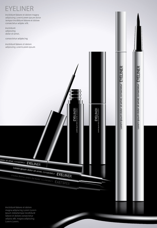 Cosmetic Eyeliner with Packaging Poster Design Vector Illustration Vettoriali