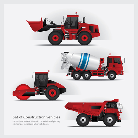 Construction Vehicles Set Vector Illustration Illusztráció