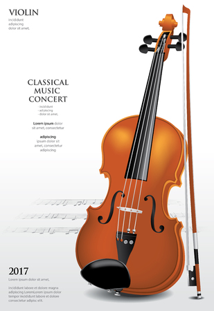 The Classical Music Concept Violin Vector Illustration, isolated on white