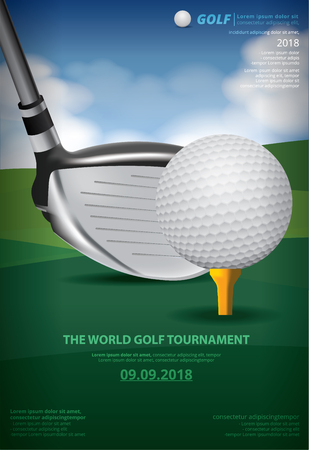 Poster Golf Championship Vector Illustration with golf ball and club Ilustração