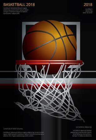 Basketball shooting in basket hoops Poster Advertising Vector Illustration 일러스트