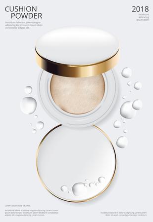 Makeup Powder Cushion Poster Template Vector Illustration Vektorgrafik