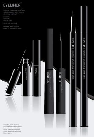 Cosmetic Eyeliner with Packaging Poster Design Vector Illustration Illusztráció