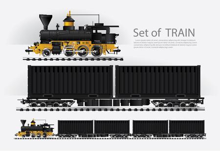 Cargo train on a rail road Vector illustration