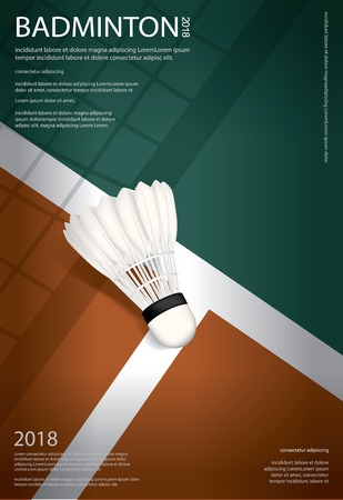 Badminton Championship Poster Vector illustration Иллюстрация