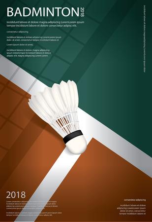 Ilustración de vector de cartel de campeonato de bádminton
