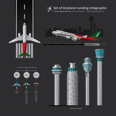 Set of Airplane Landing Infographic with Control Tower Isolated Vector Illustration Çizim