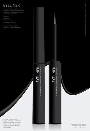Cosmetic Eyeliner with Packaging Poster Design Vector Illustration Çizim