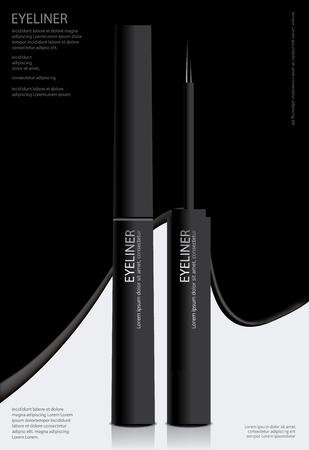 Eyeliner cosmetico con l'illustrazione d'imballaggio di vettore di progettazione del manifesto Vettoriali