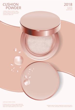 Makeup Powder Cushion Poster Template Vector Illustration Vektoros illusztráció