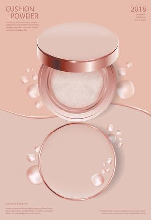 Makeup Powder Cushion Poster Template Vector Illustration Stockfoto - 111009151
