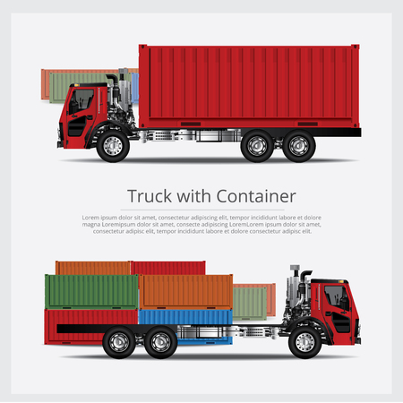 Cargo Trucks Transportation with Container isolated Vector Illustration
