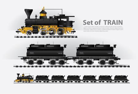 Güterzug auf einer Eisenbahn-Vektor-Illustration Vektorgrafik