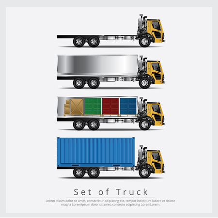 Set of Cargo Trucks Transportation with Container isolated Vector Illustration Иллюстрация