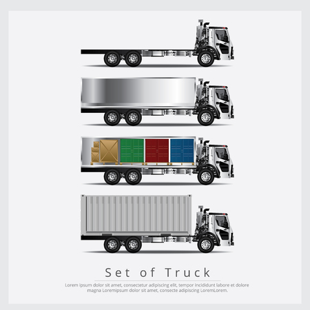 Set of Cargo Trucks Transportation with Container isolated Vector Illustration