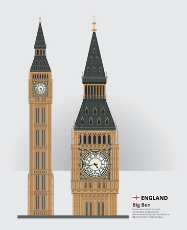 England Landmark Big Ben and Travel Attractions Vector Illustration