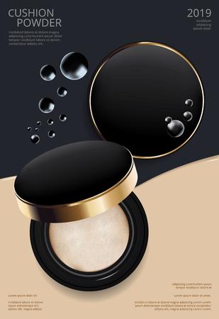 Modèle d'affiche de coussin de poudre de maquillage Illustration vectorielle