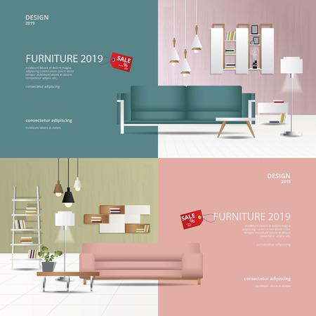 2 Banner 2 Tone Furniture Sale Design Template Vector Illustration