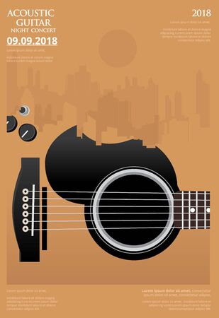 Guitar Concert Poster Background Template Vector Illustration Stock Illustratie
