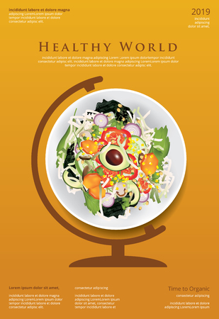 Vegetable Salad Organic Food Poster Design Template Vector Illustration Ilustração