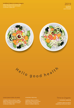 Vegetable Salad Organic Food Poster Design Template Vector Illustration Çizim
