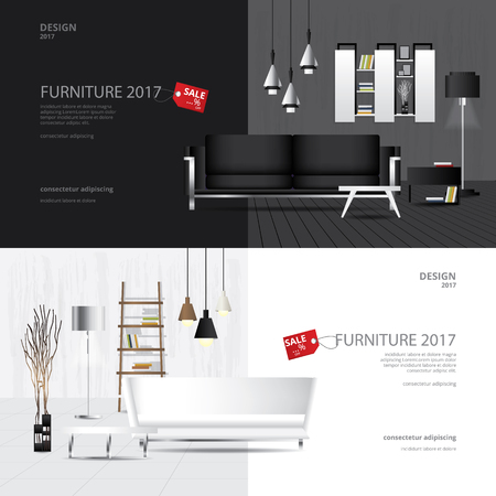 2 Banner Furniture Sale Design Template Vector Illustration Standard-Bild - 124977046