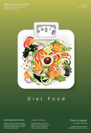 Vegetable Salad Organic Food Poster Design Template Vector Illustration Stock Illustratie
