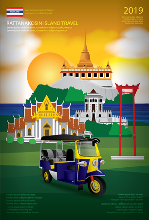 Thailand Bangkok Travel Poster Design Template Vector Illustration