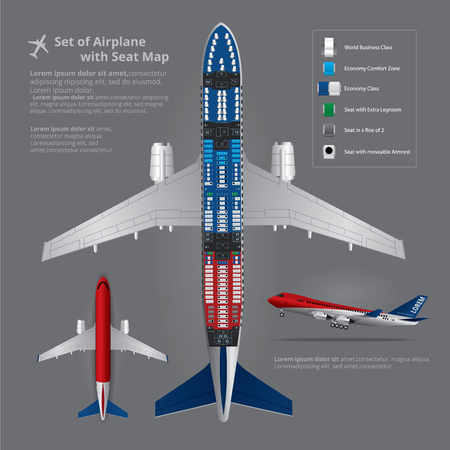 Set of Airplane Landing with Seat Map Isolated Vector Illustration Stock Illustratie