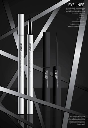 Cosmetic Eyeliner with Packaging Poster Design Vector Illustration Stock Illustratie