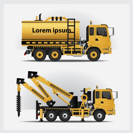 Construction Vehicles Vector Illustration Stock Illustratie