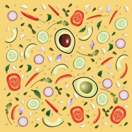 Colourful pattern Raw Food Background Template Vector Illustration