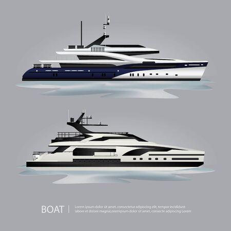 Yacht turistico di trasporto barca per viaggiare illustrazione vettoriale