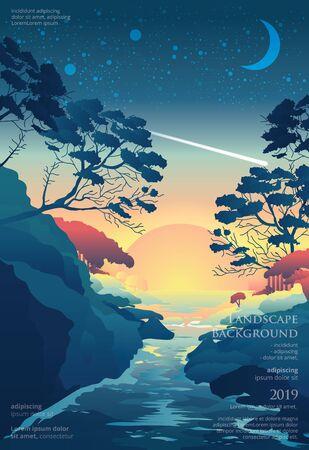 Seascape Poster Background Graphic Design Vector Illustration Stock Illustratie