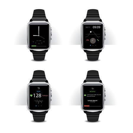 Smart Watch with Digital Display Set Vector Illustration