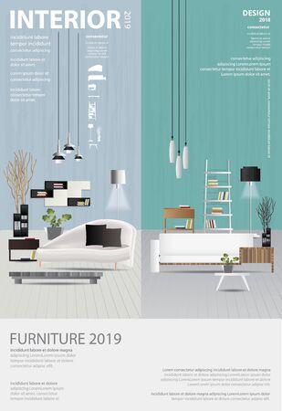 Poster Interior Design Template Vector Illustration Stock Illustratie