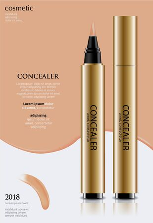 Poster Template Design Concealer with Package Vector Illustration