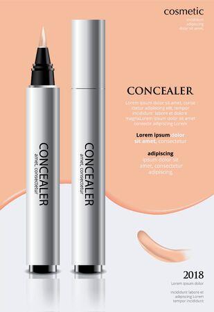 Poster Template Design Concealer with Package Vector Illustration Çizim