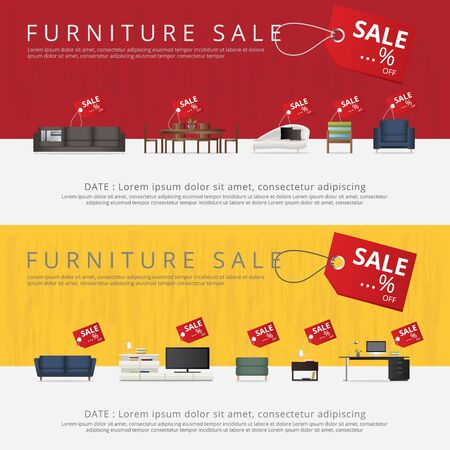 2 Banner Furniture Sale Advertisement Flayers Vector Illustration Illusztráció