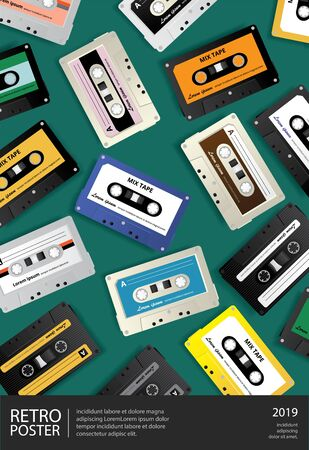 Vintage Retro Cassette Tape Poster Design Template Vector Illustration Illusztráció